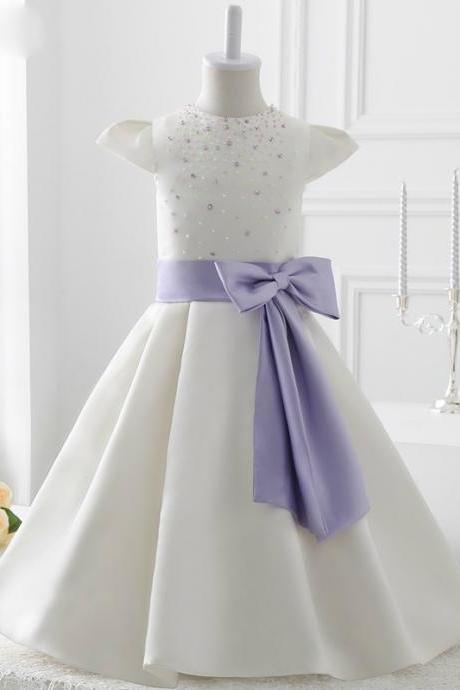 2017 style White Satin With Bow flower girl dress,FG1395