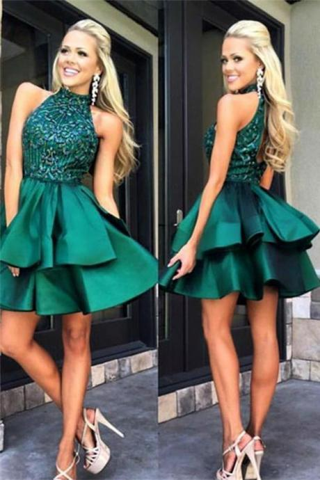 Modest Green Beaded Satin Homecoming Dresses,Short A-line Homecoming Dress ,H1400