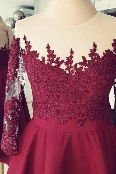Burgundy High Low ,Applique 3/4 Sleeves ,Lace Homecoming Dress,Short Prom Dress,Formal Gowns,Custom Made ,New Fashion,H1416