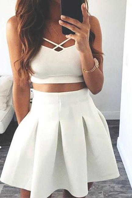 white two pieces short prom dress. cute homecoming dress,H1687
