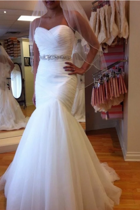Trumpet/Mermaid Sleeveless Sweetheart Floor-Length Beading Tulle Wedding Dresses,W1722