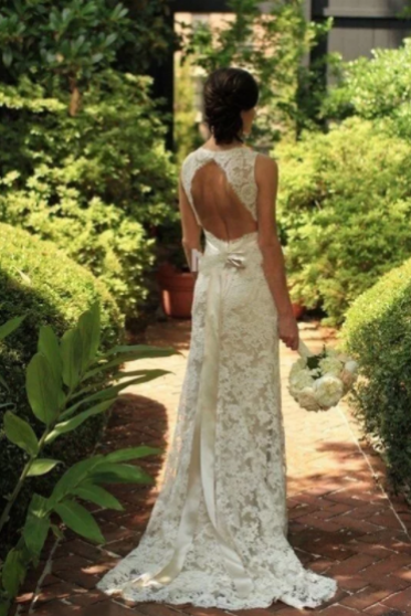 Sheath/Column Sleeveless Lace V-neck Sweep/Brush Train Wedding Dresses,W1723