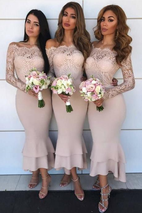 Off the Shoulder Tea Length Nude Bridesmaid Dresses with Lace Sleeve,BD1733
