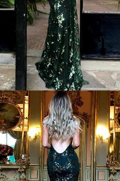Mermaid Deep V-Neck Sweep Train Criss-Cross Straps Dark Green Sequined Prom Dress,P1788