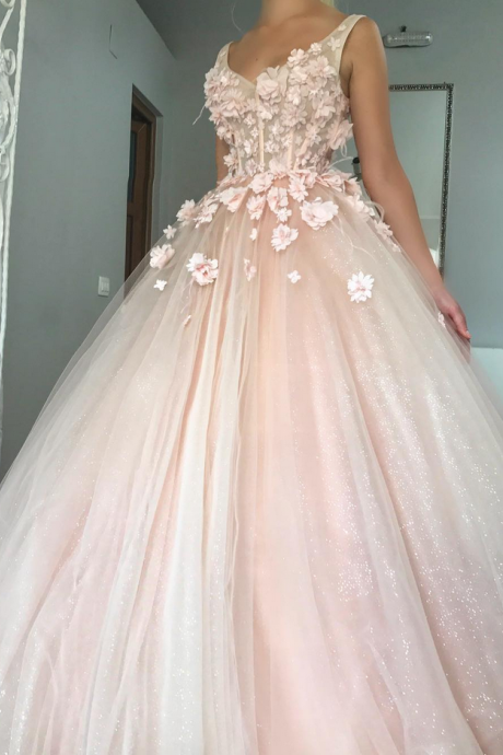 Charming Ball Gown Wedding Dress, Appliques Pink Tulle Bridal Dresses,W1790