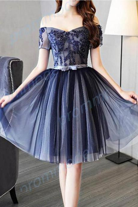 Attractive A-line Tulle Dark Blue Sleeveless Short Homecoming Dress With Beading ,H1804