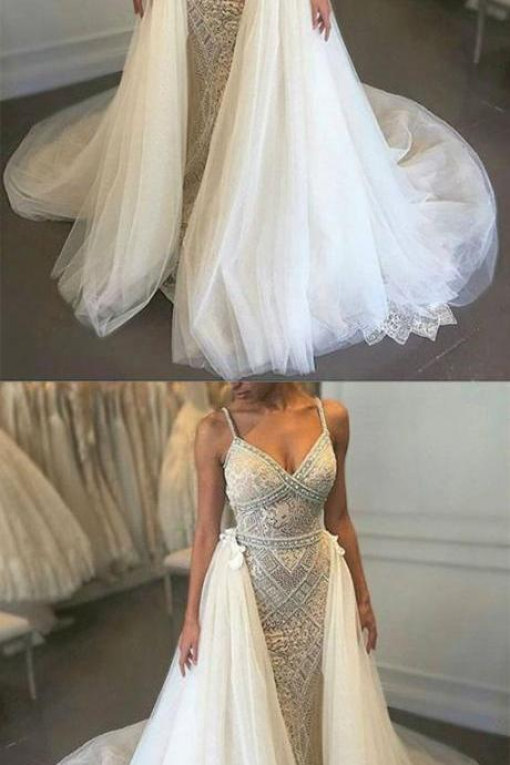 High Quality V-neck Sleeveless Detachable Train Wedding Dress with Beading,W1869