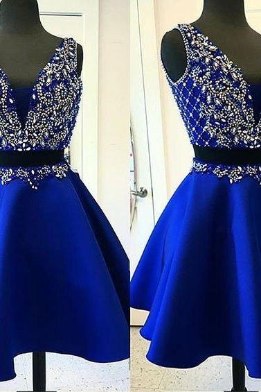 Royal Blue Homecoming Dresses,Beading Bodice Homecoming Dresses, Short Mini Satin Homecoming Dresses,Cocktail Dresses,Party Dresses,H2074
