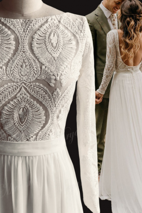 Unique Lace Long Sleeves Open Back Hippie Style Wedding Dress Chiffon Detachable Train Boho Chic Rustic Bridal Gowns,W
