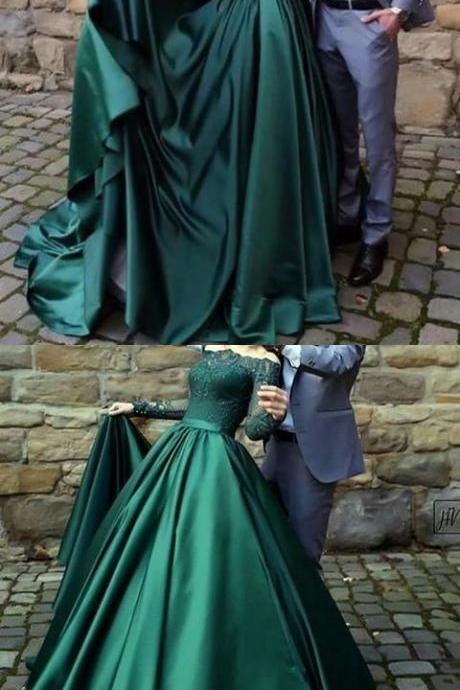 Modest dark green party dress, off the shoulder prom dresses ,prom dress with long sleeves, evening gowns with lace, a line party dresses with pleats,P2513