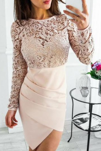 Long Sleeve Lace Top Homecoming Dress, Sheath Knee-Length Homecoming Dress,.H2559