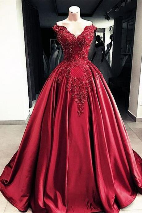 Lace Embroidery Beaded V-neck Satin Ball Gown Prom Dress,P2562