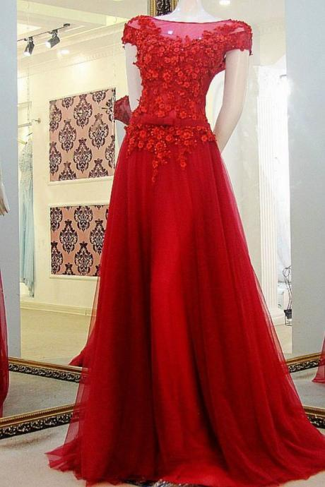 Red Prom Dress with Cap Sleeves, Prom Dresses,Graduation Party Dresses, Prom Dresses For Teens,P2564