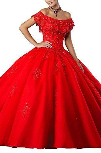 Women's Gorgeous Sweet 16 Ball Gown Off The Shoulder Corset Back Long Lace Quinceanera Dresses,P2565