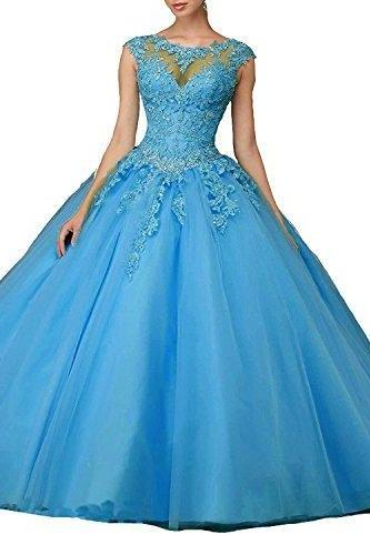 Women's Cap Sleeves Prom Ball Gowns with Appliques Beaded Quinceanera Dresses Tulle,P2567