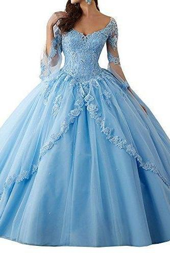 Women's Long Sleeve Lace Quinceanera Dresses Train V-Neck Ball Gown,P2658
