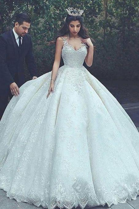 Luxury Wedding Dresses Spaghetti Straps Ball Gown Lace Bridal Gown ,W2577