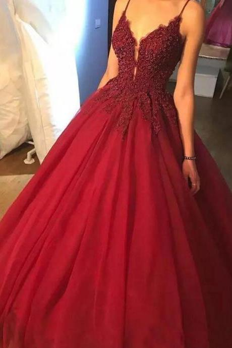 Burgundy Prom Dresses Spaghetti Straps Ball Gown Long Beading Prom Dress,P2599