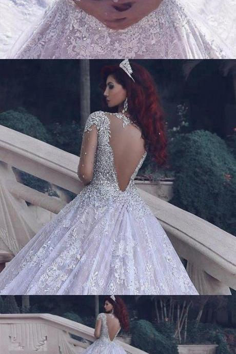 Fashion Lace Wedding Dress Ball Gown With Applique And Beading,Bridal Dresses Ball Gown Wedding Dress with Long Sleeves,W2607