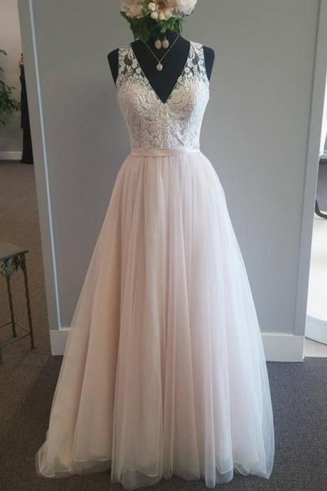 A Line Floor Length Deep V Neck Sheer Back Appliques Cheap Wedding Gown,Beach Wedding Dress,W2652