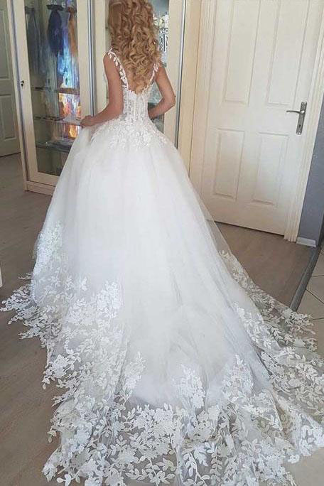 2019 Ball Gown Lace up Tulle Wedding Dresses, Romantic Bridal Dress With Appliques,Lace Tulle Wedding Gowns,Wedding Dresses,W2684