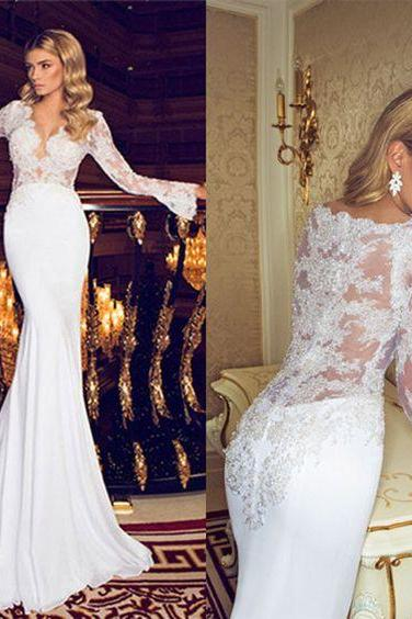 2017 Sexy sheer back long sleeve lace mermaid wedding dress,mermaid lace bridal gown,long sleeve lace mermaid bride dress,W2733
