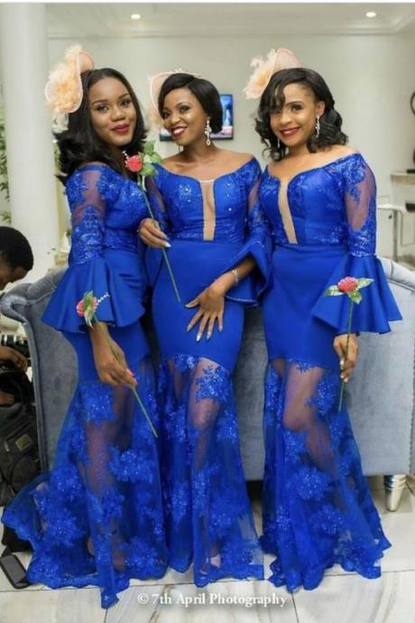 Royal Blue Mermaid Bridesmaid Dresses Scoop Long Sleeve Lace Appliques South African Bridesmaid Gowns,B2742