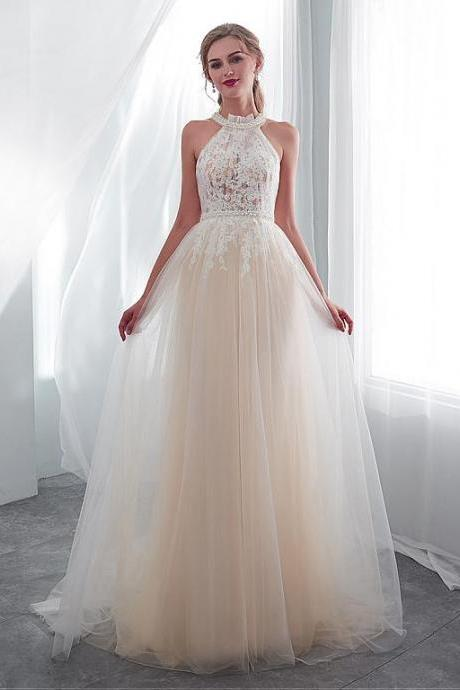 Exquisite Tulle Halter Neckline See-through Bodice A-line Wedding Dress With Lace Appliques & Beadings,P2821
