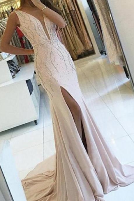 Sweetheart Lilac Satin Beaded Ball Gown, Prom Dresses,P2993