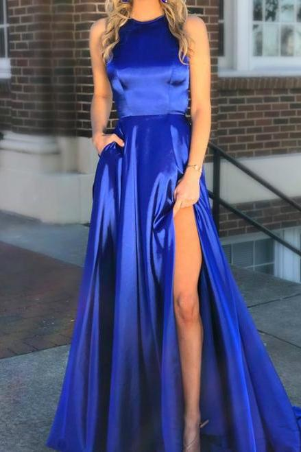 Royal Blue Halter Neck Satin with Pockets Split Blue Prom Dress,P3148