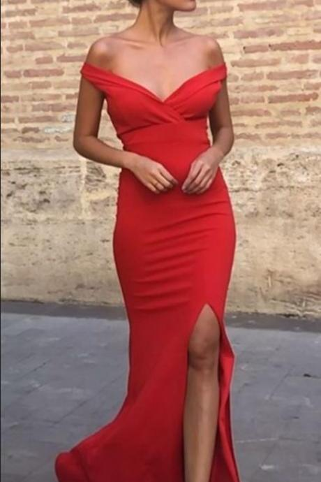 Sexy Mermaid Off Shoulder Red Side Slit Long Prom Dresses,P3625