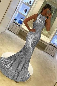 Silver Sequins Halter Long Mermaid Evening Gowns ,P3722