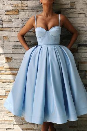 Spaghetti Straps Sweetheart Satin Tea Length Ball Gown Party Dresses,H3723