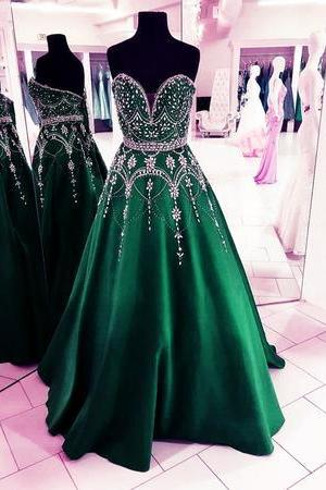 Stunning Sequins Beaded Sweetheart Satin Ball Gowns Prom Dresses 2018,P3724
