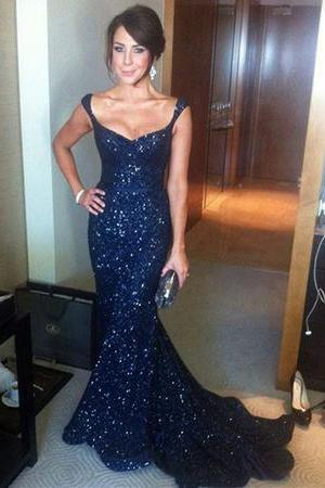 Navy Blue Sequin V-neck Mermaid Evening Gowns Court Train Prom Dress,P3726