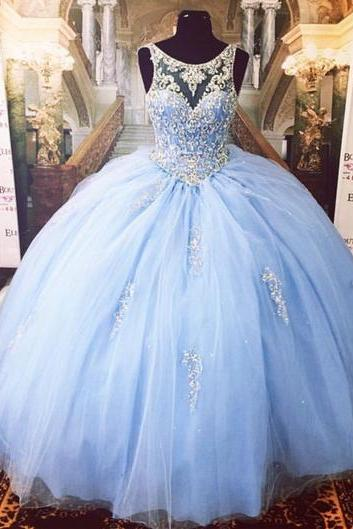 Luxurious Crystal Beaded Scoop Neckline Tulle Ball Gowns Quinceanera Dresses,P3727