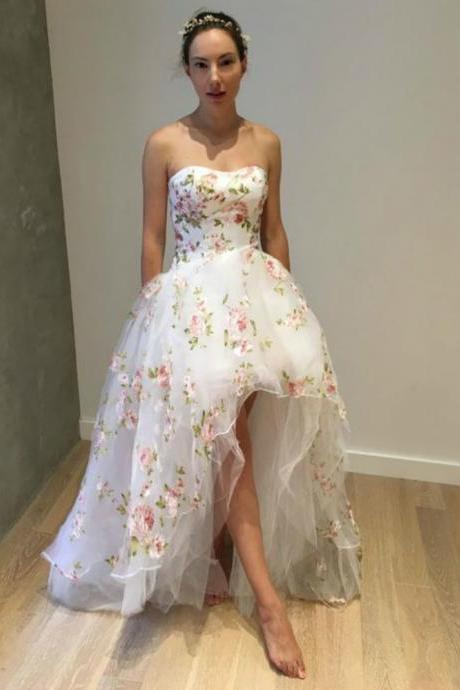 A-Line White Hi Lo Strapless Tulle Appliques Prom Dress,P3761