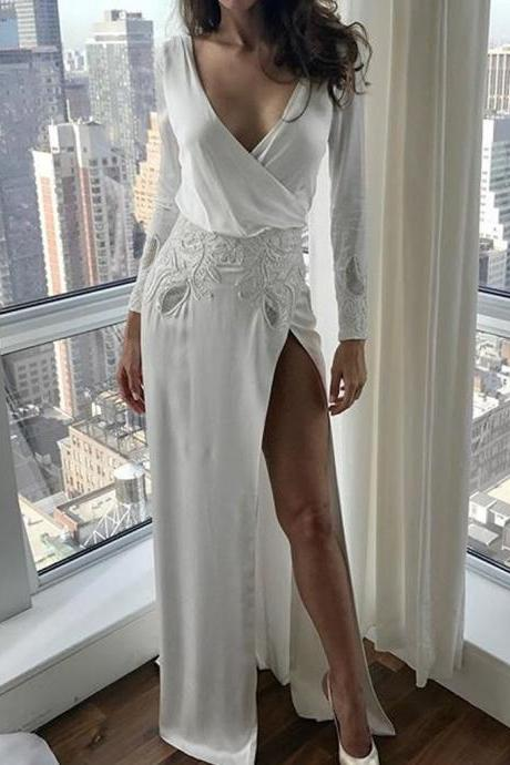 Charming Long Sleeve V-Neck Backless Applique Sexy Slit Wedding Dresses,W3775