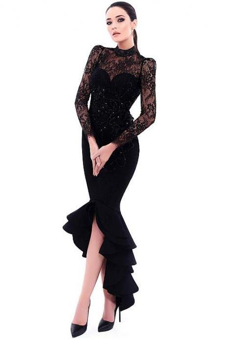 Chic Lace & Satin High Collar Neckline Cut-out Mermaid Evening Dresses With Beaded Lace Appliques,P3781