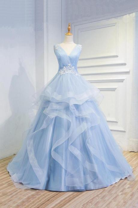 Sweetheart Baby Blue Organza V neck Wedding Gowns,Ruffles Appliques Wedding Dress,w3793