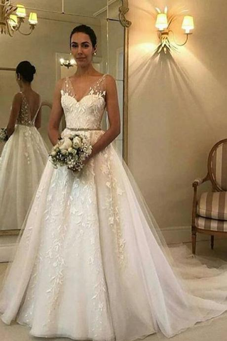 Simple Sweetheart Tulle Sleeveless With Lace Appliques Wedding Dresses ,w3794