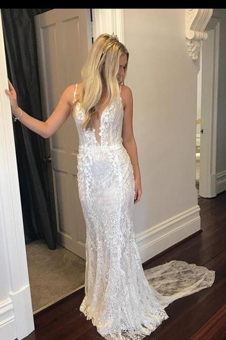 Gorgeous Trumpet Spaghetti Straps V Neck Appliques Wedding Dresses ,w3795