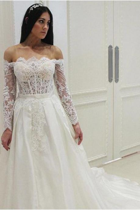 Elegant Off the Shoulder Lace Long Sleeves Wedding Dresses,W3797