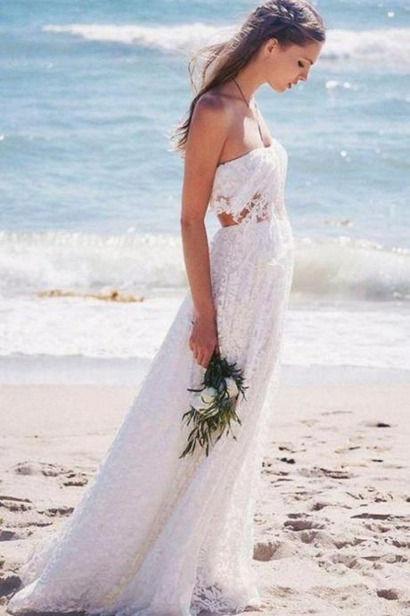Gorgeous Strapless Lace Floor Length Beach Boho Wedding Dress,w3798