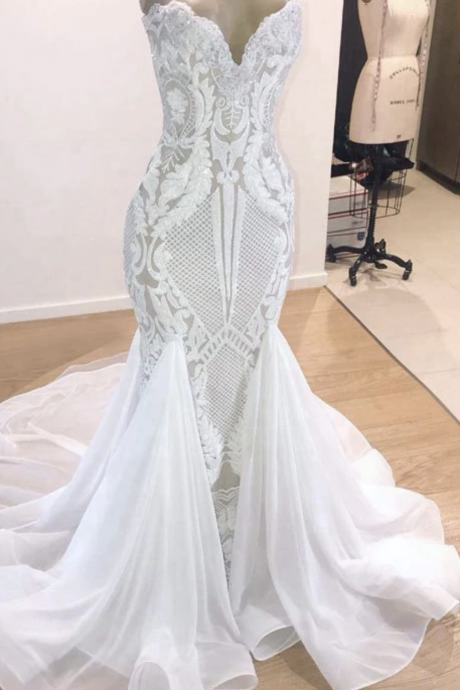 Luxury Elegant Mermaid Wedding Dress 2019 Trumpet V-neck Sleeveless African Bling Bridal White Sequin Beach Wedding Gowns,w3800