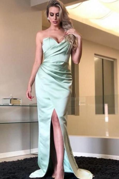 Tiffany Blue Sweetheart Strapless Mermaid Simple Cheap Prom Dresses,p3802