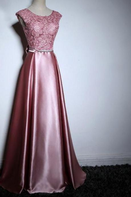 Elegant Purple Lace Satin With Bow Knot V-Back Sleeveless A-Line Prom Dresses,p3803