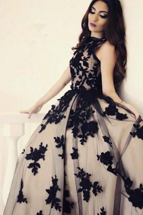 Vintage Ball Gown Appliques Modest Formal Evening Party Long Prom Dresses,p3806