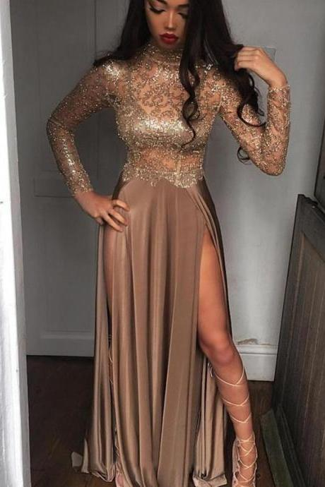 Brown Jersey Shiny Lace Long Sleeve High Neck Prom Dresses ,p3808