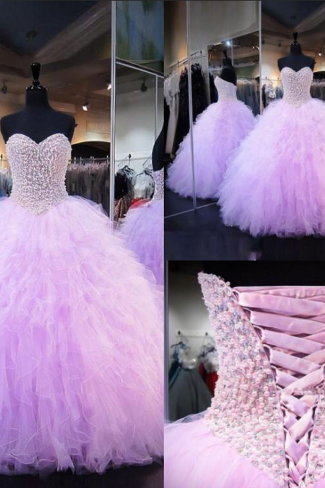 Sweetheart ball gown,pink prom dresses with beads,tulle sweet 16 dresses,quinceanera dress,p3809